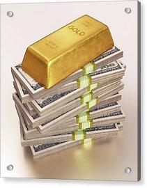 Gold Bullion And Us Dollars Acrylic Print