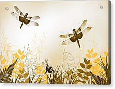 Gold Dragonfly Art Acrylic Print