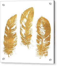 Gold Feather Square Acrylic Print