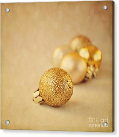 Gold Glittery Christmas Baubles Acrylic Print by Lyn Randle