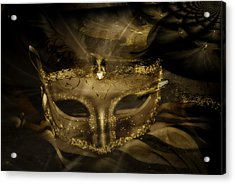 Gold In The Mask Acrylic Print