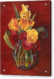 Gold N Red Iris Acrylic Print