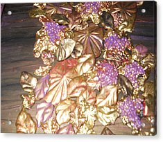 Gold Seashell Relief Acrylic Print by Suzanne Thomas