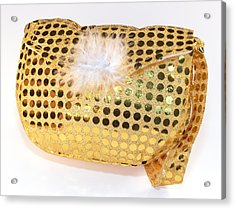 Gold Sequin Purse Acrylic Print by Jo Ann Snover