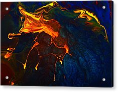 Gold Signature - Gold Orange Abstract Art By Kredart Acrylic Print