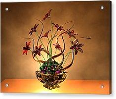 Gold Spirals Glass Flowers Acrylic Print by Louis Ferreira