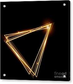 Gold Triangle Glowing Frame. Abstract Acrylic Print