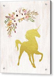 Gold Unicorn Floral Acrylic Print