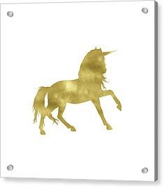 Gold Unicorn Square Acrylic Print