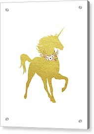 Gold Unicorn Acrylic Print by Tara Moss