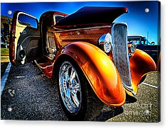Gold Vintage Car At Car Show Acrylic Print by Danny Hooks