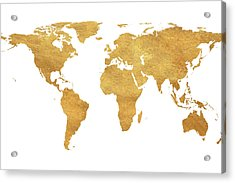 Gold World Map Acrylic Print