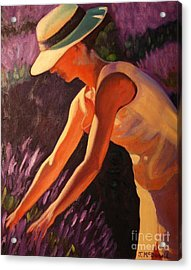 Acrylic Print featuring the painting Golden Afternoons In Lavender by Janet McDonald