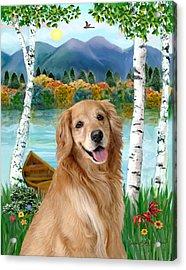 Golden At The Lake Acrylic Print