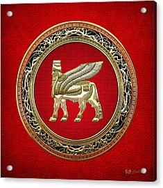Golden Babylonian Winged Bull  Acrylic Print