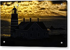 Golden Backlit West Quoddy Head Lighthouse Acrylic Print by Marty Saccone