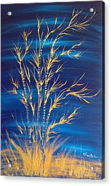 Golden Bamboo Acrylic Print by Pretchill Smith