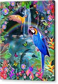 Golden Bluebirds Paradise Version 2 Acrylic Print by Alixandra Mullins
