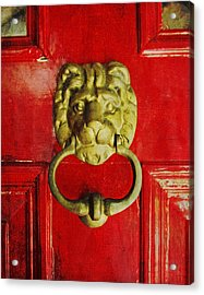 Golden Brass Lion On Red Door Acrylic Print