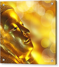 Golden Buddha Acrylic Print by Delphimages Photo Creations