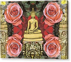 Acrylic Print featuring the painting Golden Buddha In The Garden by Joseph J Stevens