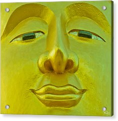 Golden Buddha Smile Acrylic Print by Allan Rufus