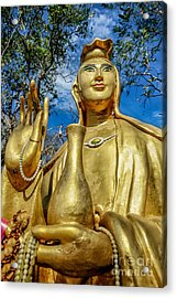 Golden Buddha Statue Acrylic Print by Adrian Evans