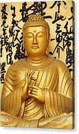 Golden Buddha Statue At The World Peace Pagoda Pokhara Acrylic Print by Robert Preston