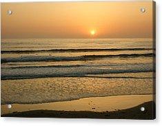 Golden California Sunset - Ocean Waves Sun And Surfers Acrylic Print