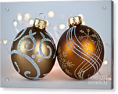 Golden Christmas Ornaments Acrylic Print by Elena Elisseeva