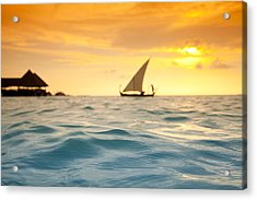 Golden Dhoni Sunset Acrylic Print by Sean Davey