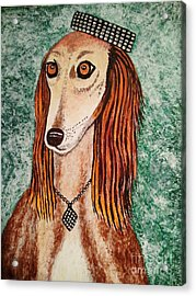 Acrylic Print featuring the painting Golden Dog by Jasna Gopic