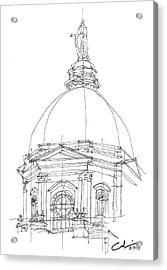 Acrylic Print featuring the drawing Golden Dome Sketch by Calvin Durham