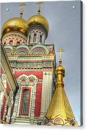 Golden Domes Of Russian Church Acrylic Print by Eti Reid