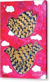 Golden Doves Pink Sky Acrylic Print by Caroline Street