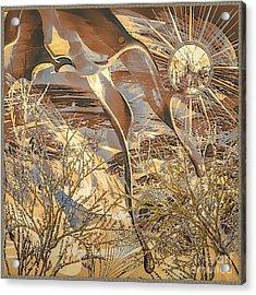 Acrylic Print featuring the digital art Golden Dream by Eleni Mac Synodinos