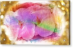 Golden Dreams Of Orchids Acrylic Print