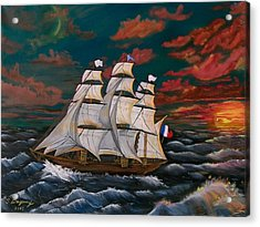 Golden Era Of Sail Acrylic Print by Sharon Duguay