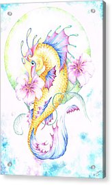 Golden Fairy Seahorse Acrylic Print by Heather Bradley
