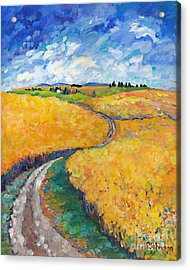 Golden Fields II Middle Panel Of Triptych Acrylic Print