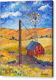 Golden Fields IIi Right Panel Of Triptych Acrylic Print
