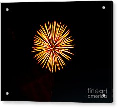 Golden Fireworks Flower Acrylic Print by Robert Bales