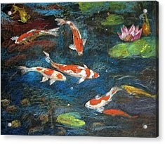 Acrylic Print featuring the painting Golden Fish by Jieming Wang