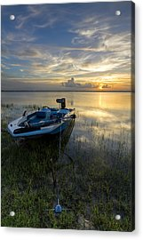 Golden Fishing Hour Acrylic Print by Debra and Dave Vanderlaan
