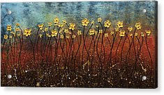 Golden Flowers Acrylic Print by Carmen Guedez