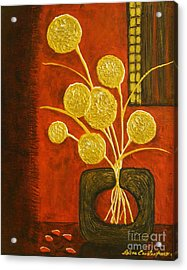 Golden Flowers Acrylic Print