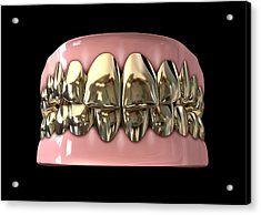 Golden Gangster Teeth And Gums Acrylic Print by Allan Swart