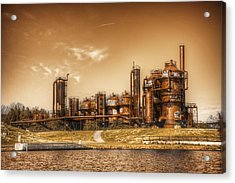 Golden Gas Works Acrylic Print by Spencer McDonald