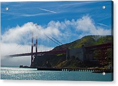 Golden Gate And Fog Acrylic Print by Rima Biswas