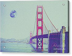 Golden Gate And Full Moon Acrylic Print